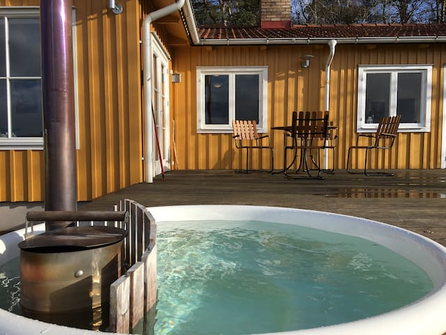 Outdoor wooden fired spa