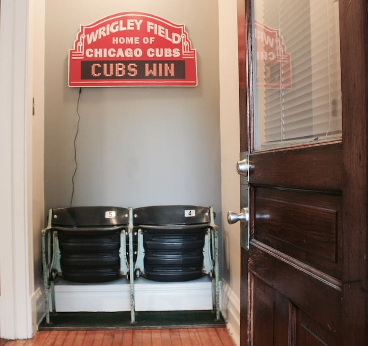 Front private entry.  Authentic Stadium Seats from Wrigley Field!