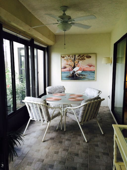 Enclosed lanai for summer/winter comfort with pass through window to the kitchen.