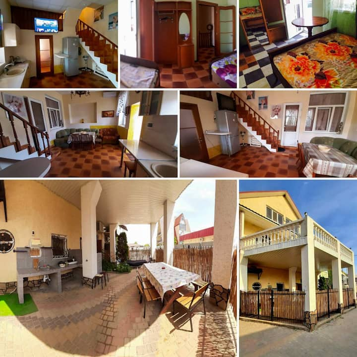 ОстровОК.Домик на 3 спальни:свои двор,балкон,кухня