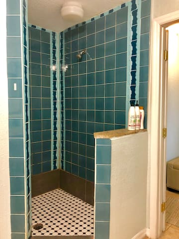 A very spacious, fully blue tiled shower