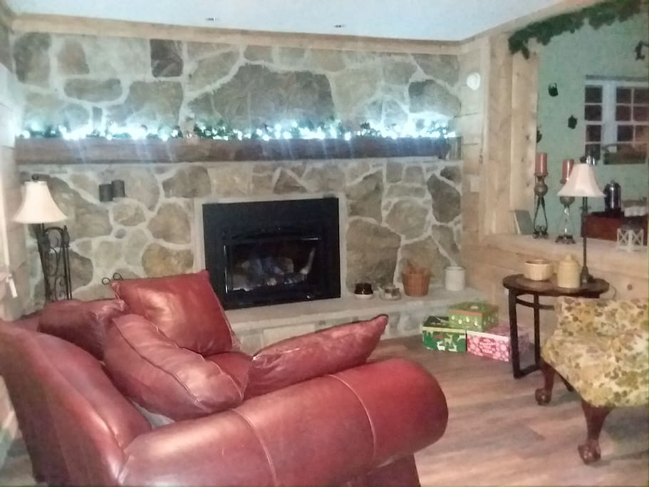 Parlor area with fire place