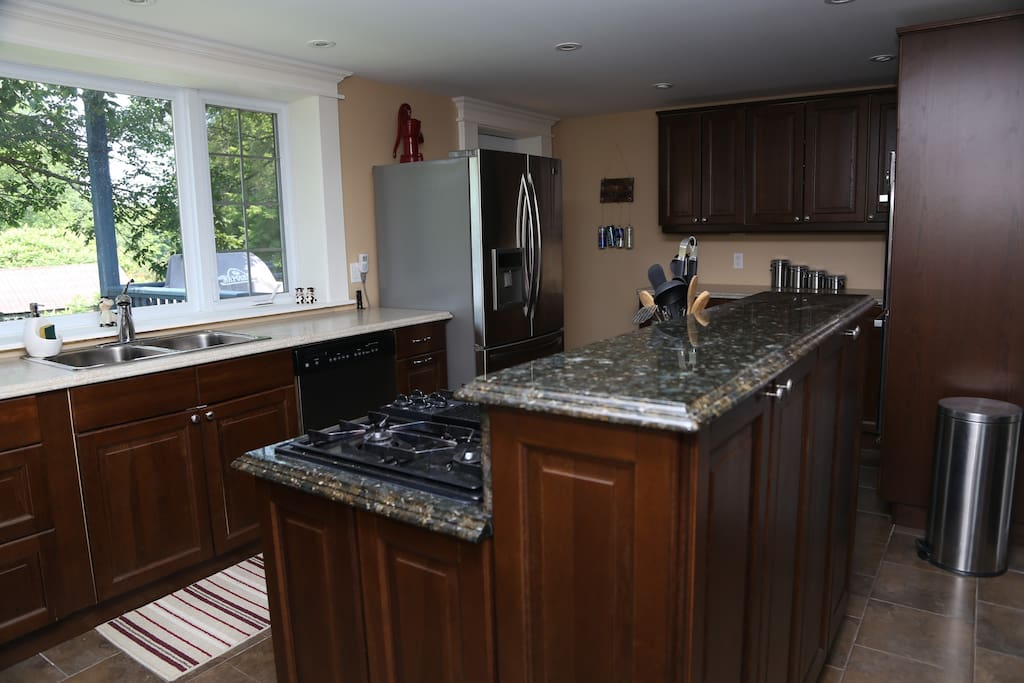 Large, bright kitchen with huge fridge, dishwasher and gas cooktop.