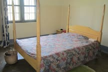 Bed room with one bed, can fit two beds