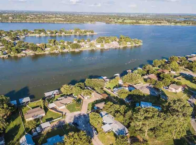 Ariel view showing our home on large cove just off main body of Lake Granbury