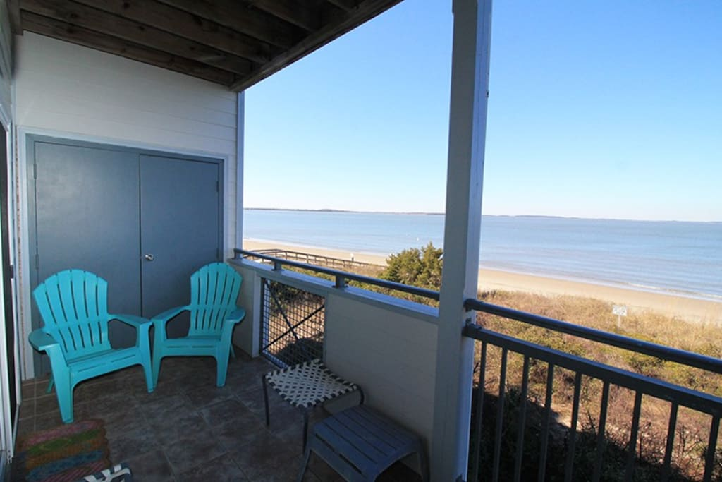 Enjoy the Beautiful Views of the Savannah River Entrance and Atlantic Ocean from your Private Balcony