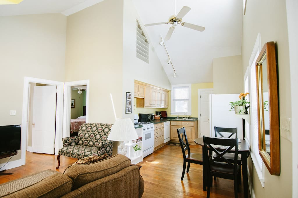 Walk into the bright and cheery kitchen with Vaulted Ceilings