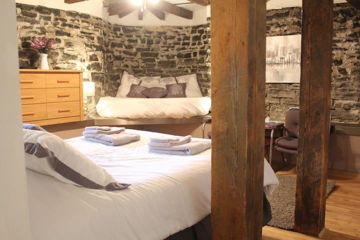 Spacieuse suite ancestrale avec murs de pierre