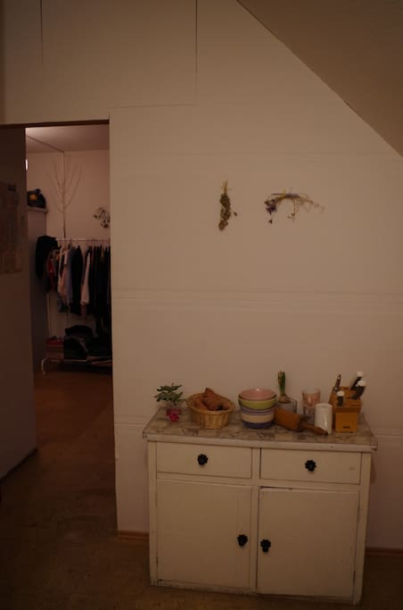 Kitchen and door to your room