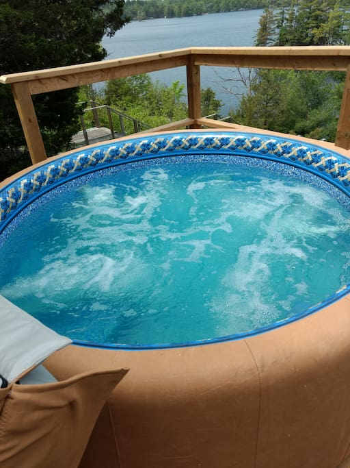 6 person hot tub with gorgeous view of lake