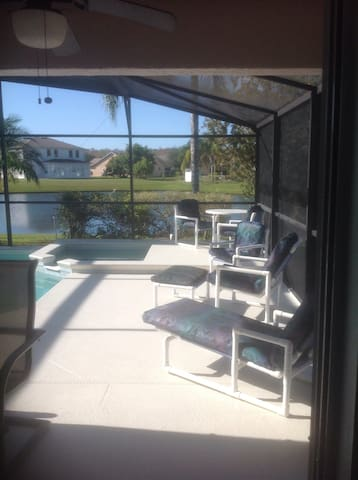 View from the kitchen diner with direct access to pool deck
