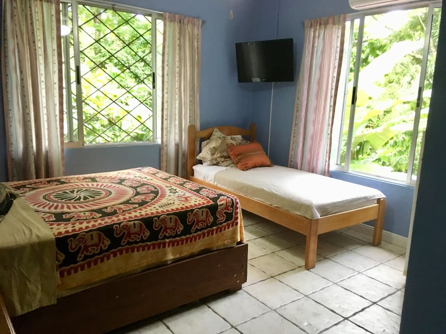 Sleeps three  comfortably. Bright airy room with jungle views. Un cuarto claro con vista del bosque. Duermen tres cómodamente.