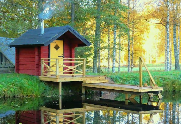 Eriks Hus, Vedbastu, sjö, båt fiske, barnvänligt