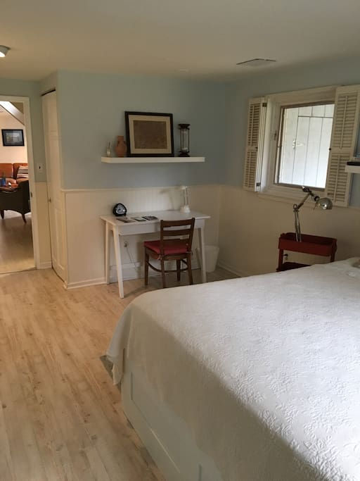 Bedroom includes two large clothes  closets and  linen closet.