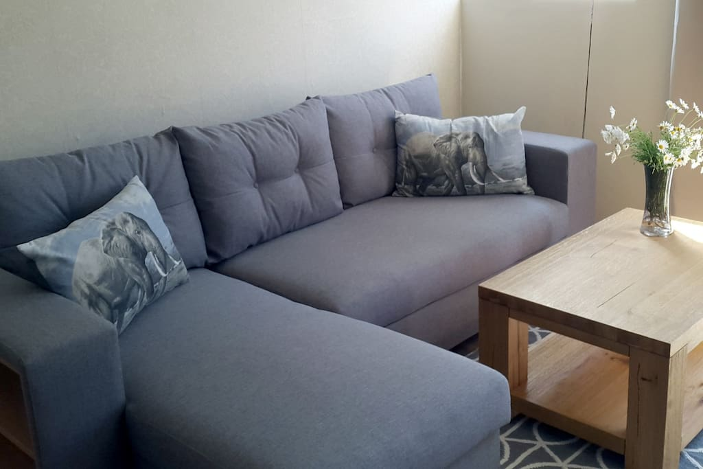 Lounge with queen-size sleeper couch / Wohnzimmer mit Schlafsofa (1.60x2m)