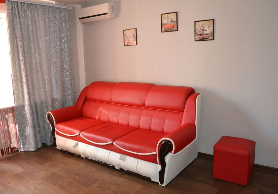 This is a cozy room, where there is a double bed and a folding modern sofa. Air conditioning, a balcony where you can smoke.