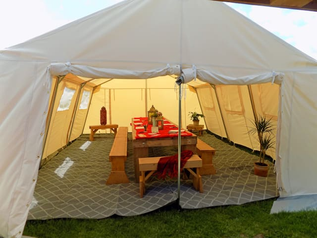 Mini Marquee interior set up for a workshop. Seats 30 to 40 or can be left empty for a dancefloor or for yoga sessions etc.