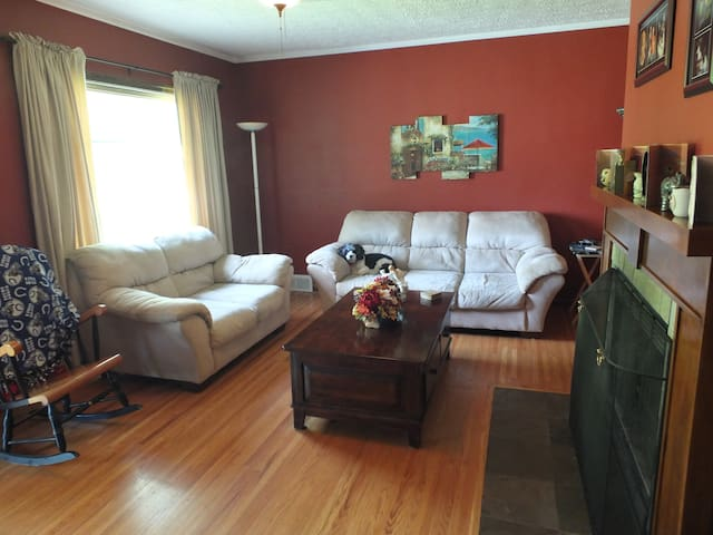 Your stay will be warm and cozy here, especially if you like dogs. Giovanni insisted on being in this one. We also have another small dog, Calvin.
