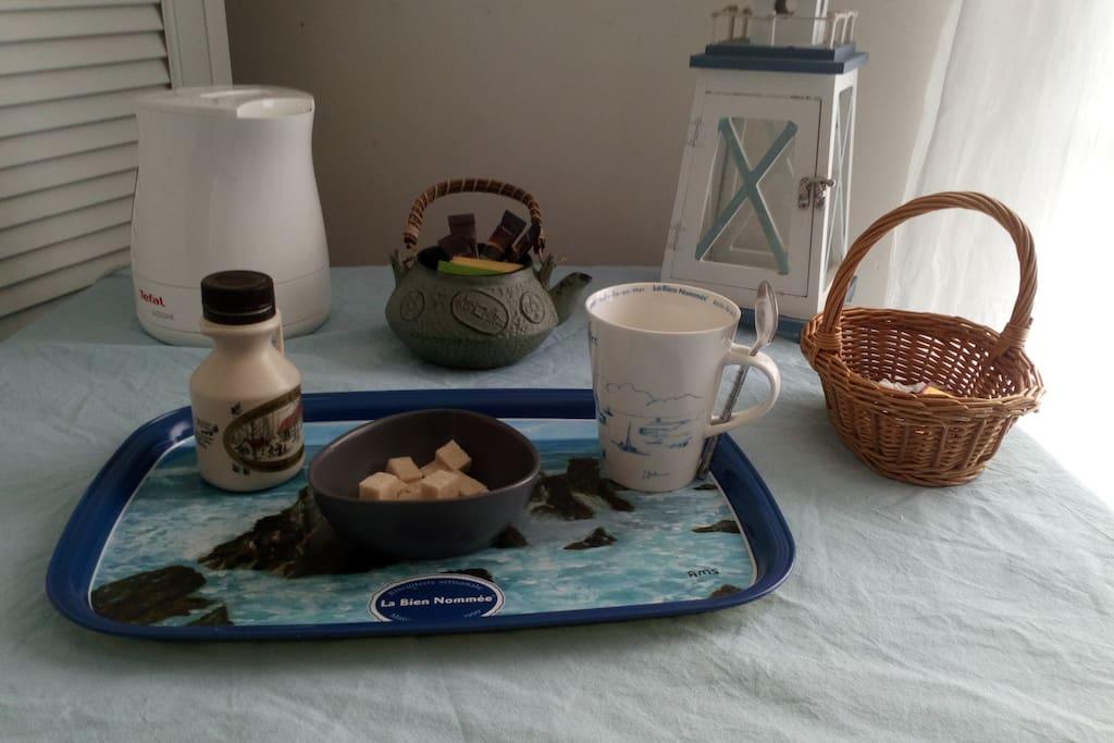 Plateau d'accueil thé café