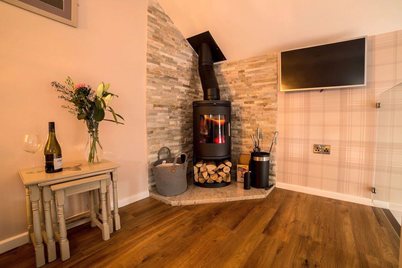 Comfortable Lounge area with Log burner.