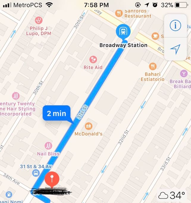 2 minutes walking from the subway