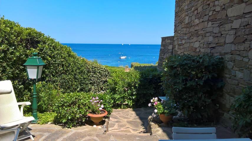 Pieds dans l'eau avec terrasse et vue mer