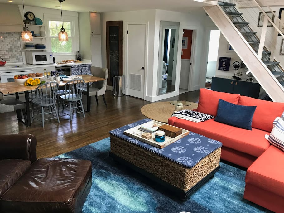 Great room with open concept kitchen/dining/living area