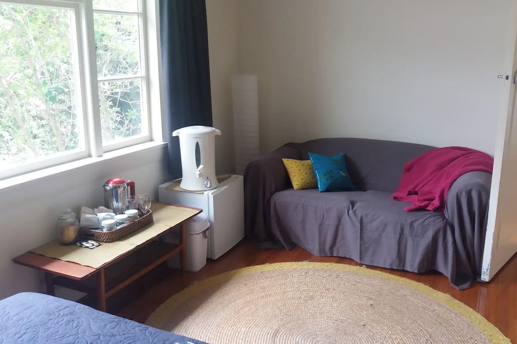 Large bedroom - Fridge, tea/coffee etc