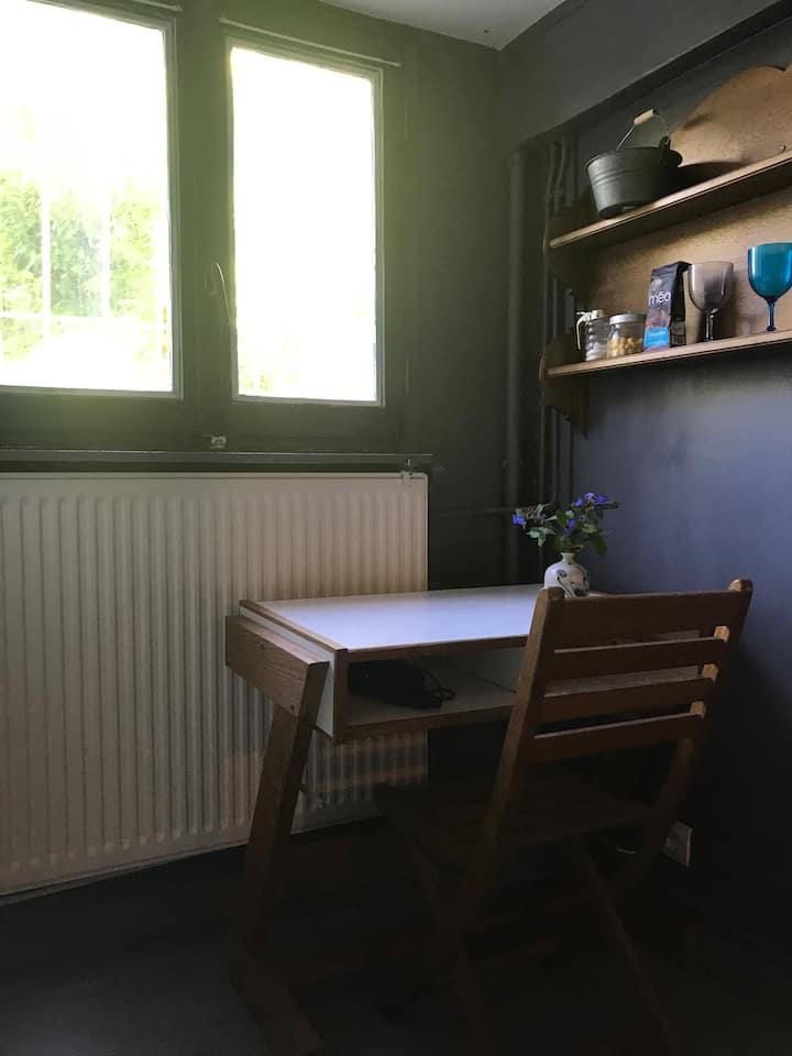 Joli studio près de Paris, jardin et parking.