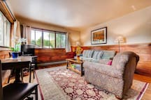 Seating for 6 at the antique drop leaf table, extra chairs are in the bedroom closet