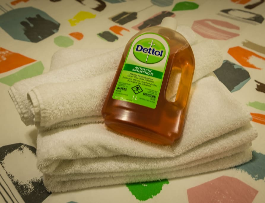 We sanitize towels, bed sheets and duvet covers with Dettol.