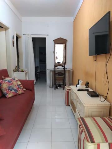 Sala de estar, com TV e sofá cama.