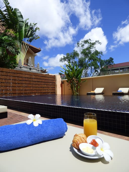 Enjoy breakfast by the pool from our new menu
