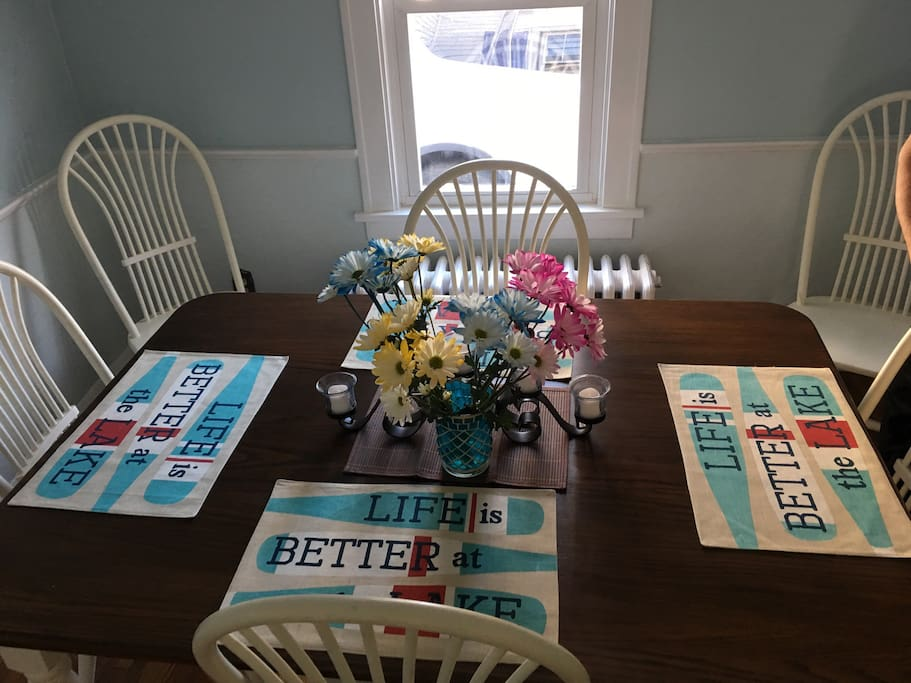 Dining room table. Seats 6.
