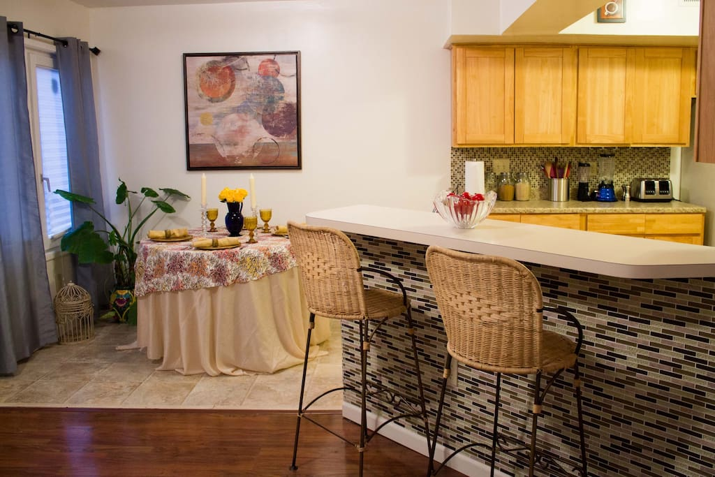 There is also a breakfast far adjacent to the kitchen and living room.