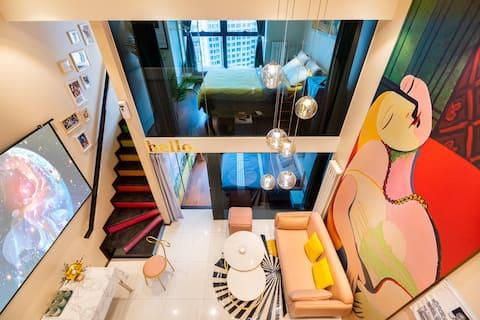 【墨岚锦舍】艺术家公寓|投影·桌游·聚会|观海河·复式Loft三居室|市中心地铁旁·近小白楼五大道