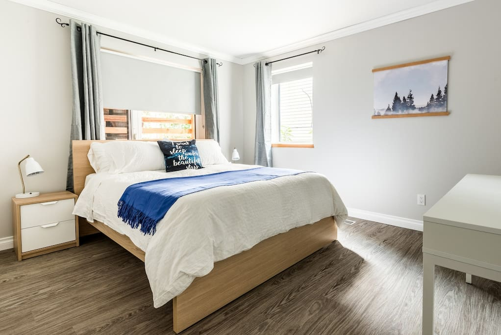 Bright bedrooms with clean modern style.