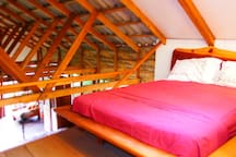 Double bed upstairs in the loft
