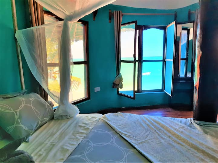 Room #6 incredible sea view from the bed in Nungwi