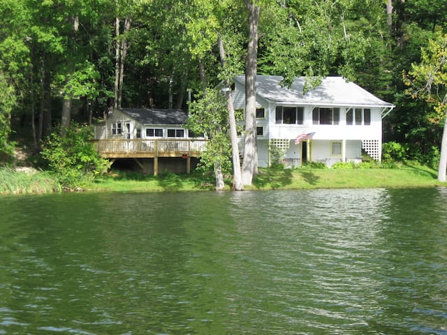 """Your house is the big one on the right. The small cottage on left is also rented. See Airbnb listing"""" Charming Lake House in the Berkshires."""""""