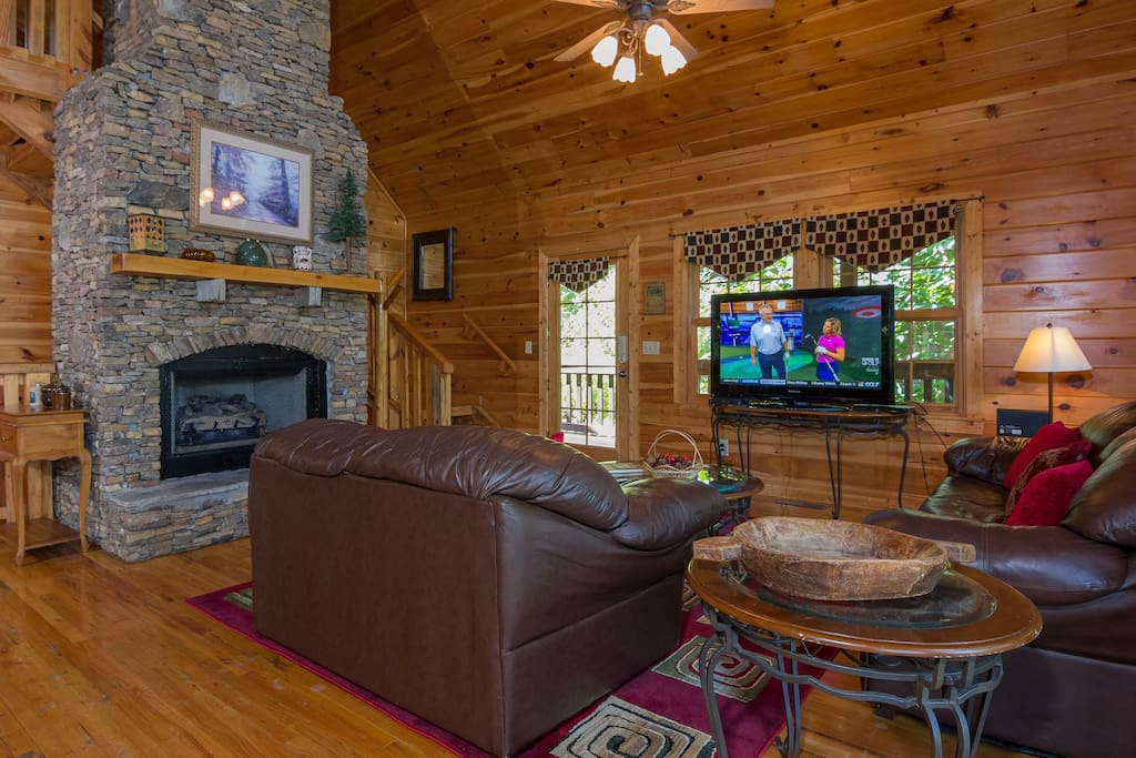 Living Room,Stacked Stone Fireplace,Tv & DVD Player , Full Wall Glass