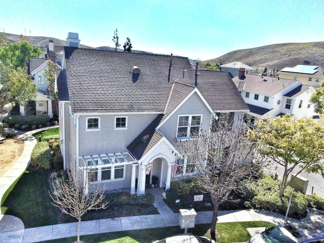 Aerial view of front of home