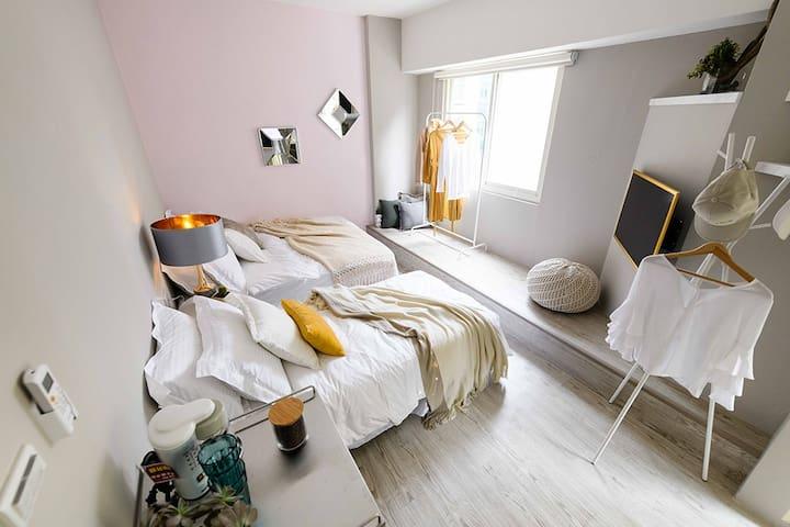Stay&Gold-Room: B/MRT Zhongshan/Toilet/2 Beds/3pax