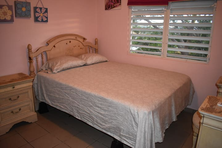 New A/C unit in room, queen bed