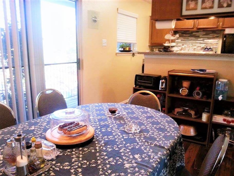 Shared dining space and cute little kitchen