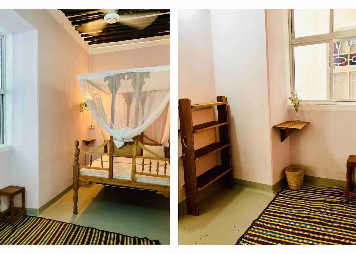 Zanzibar-style queen size bed (150x200cm), mosquito net, fan, table, chair, shelf, wooden hooks and charming wood ceiling.
