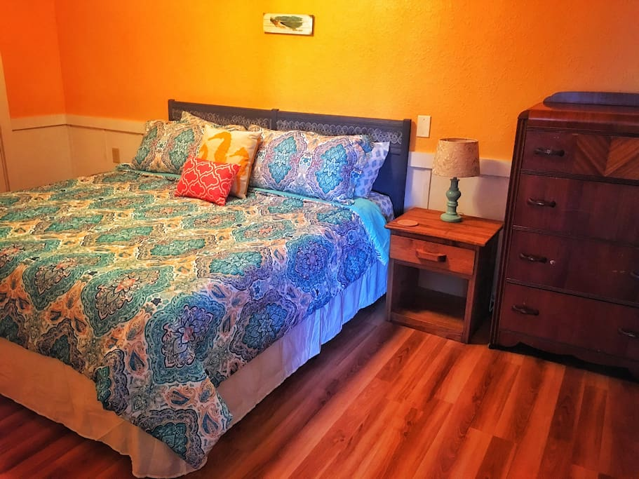 Brand new King size bed with super comfy comforter and pillows.