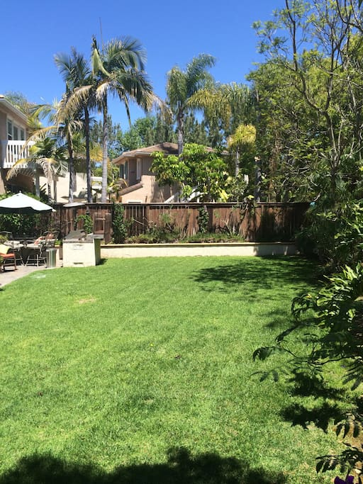 Large grassy backyard.  Croquet set and ping pong table available