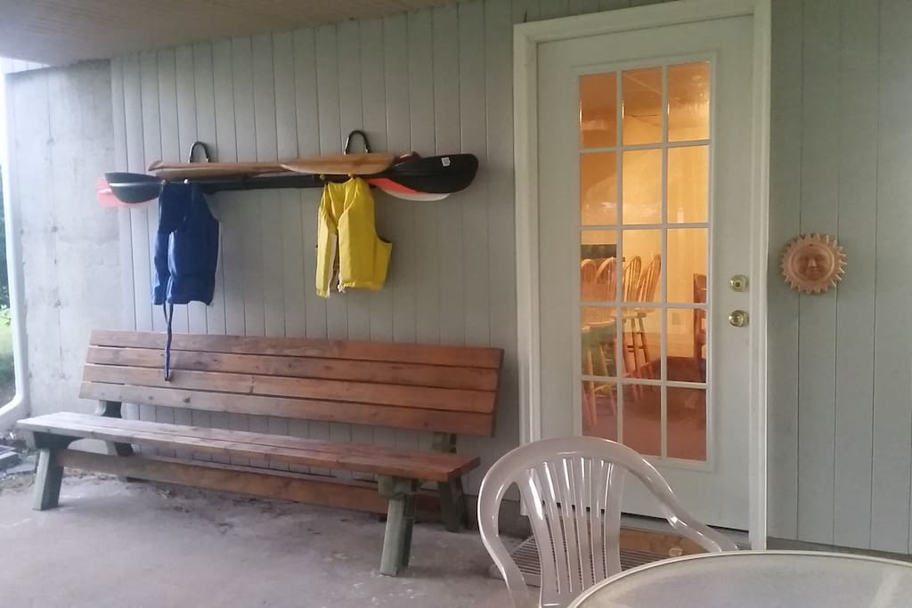 Entryway, bench and boating equipment