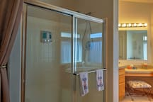 Rinse off the lake in the large walk-in shower.